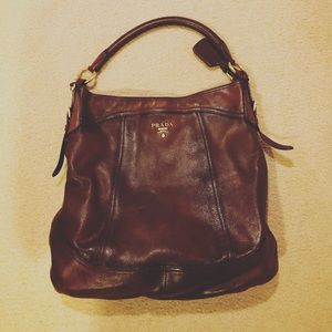 Prada Cervo Antik Flat Cacao Brown Deerskin Bag